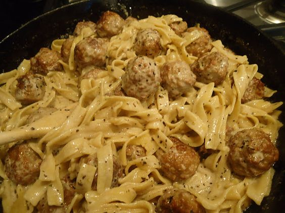 """This super easy and fast Meatballs Stroganoff recipe has become a favorites of my kids and my friends who have kids!  Perfect """"throw together"""" dinner after work!"""