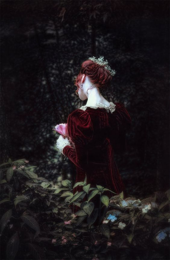 Victorian wall art, home decor, Edwardian wall print, English garden art print, wall art, vintage style art print, midnight garden, oxblood dress, vintage dress, Free shipping, romantic art print, flowers, lace Title: Hiding Away-- a photographic portrait of a Victorian woman, her skin a