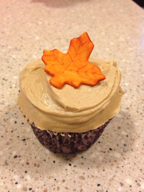 Fall chocolate peanut butter cupcake