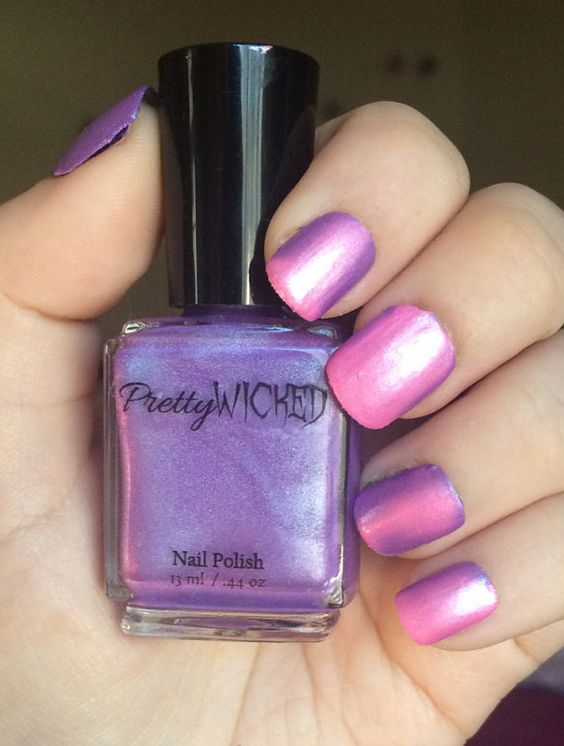 Pink/Purple Thermal Nail Polish Pink Thermal by PrettyWickedPolish