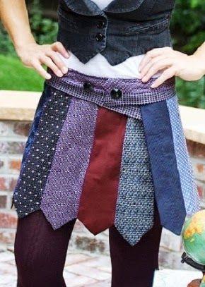 Inspiração gravatas - saia feita com gravatas