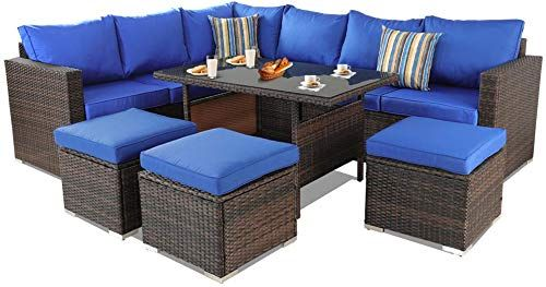 Amazing Offer On Patio Furniture Garden 7 Pcs Sectional Sofa Brown Wicker Conversation Set Outdoor Indoor Use Couch Set Royal Blue Cushion Online Bestsellerso In 2020 Buy Patio Furniture Blue