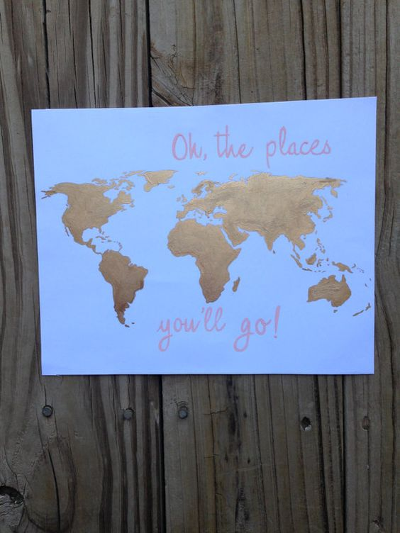 Oh The Places You Go hand-painted gold leaf world map by LynniBee