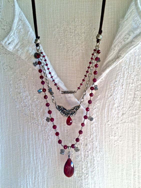 the romantic- ruby triple strand necklace labradorite & garnet antique silver leather adjustable sundance style boho red gemstone butterfly by sweetassjewelry on Etsy
