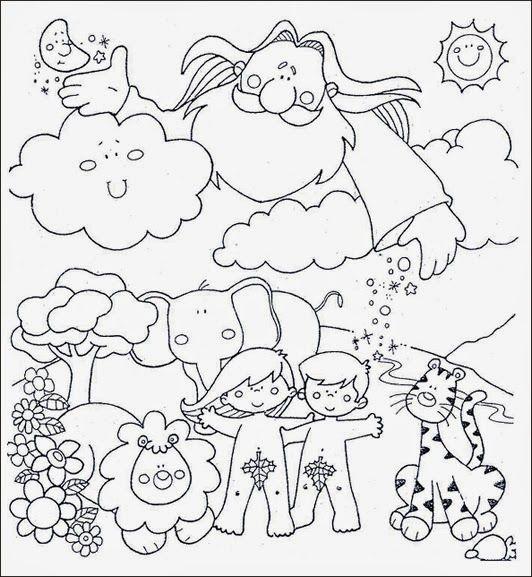 Resultado De Imagen Para Dibujos Del Paraiso Con Adan Y Eva