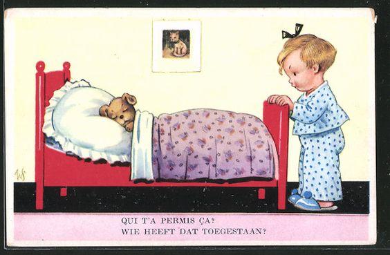 Künstler-AK Willi Scheuermann: Qui t\'a Permis Ca?, Hund schläft im Bett eines…
