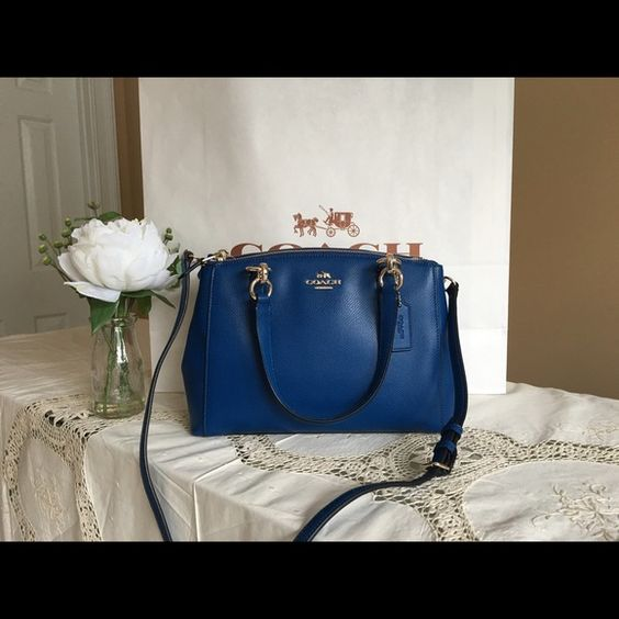 """New Coach handbag Brand New With Original Price tag attached   Color: IM / Bright Mineral  3 compartments inside zip, cell phone and multifunction pockets  Top zip closures front and back /  snap closure in center Handles with 6"""" drop & detachable longer strap for cross-body wear  10 1/2"""" L by 97 1/2H by 3 1/4"""" D Coach Bags Satchels"""