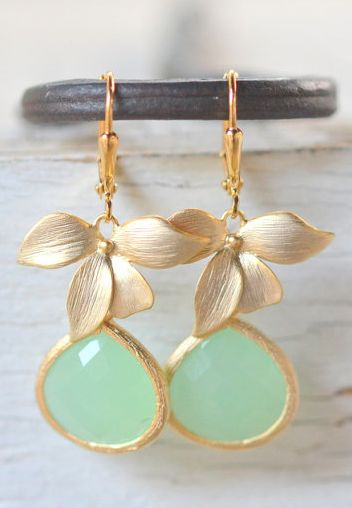 beautiful gold and mint orchid drop earrings