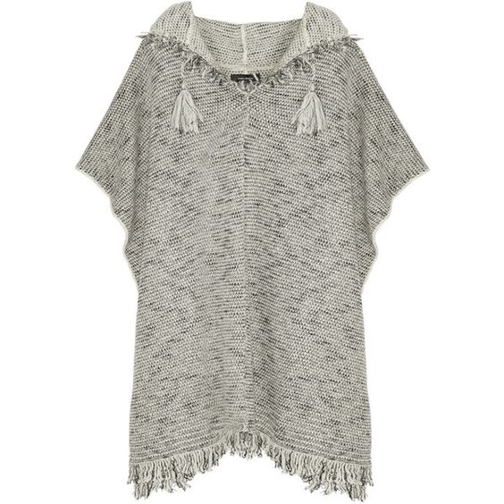 Isabel Marant Dexton knitted poncho (£420) ❤ liked on Polyvore featuring outerwear, poncho and isabel marant