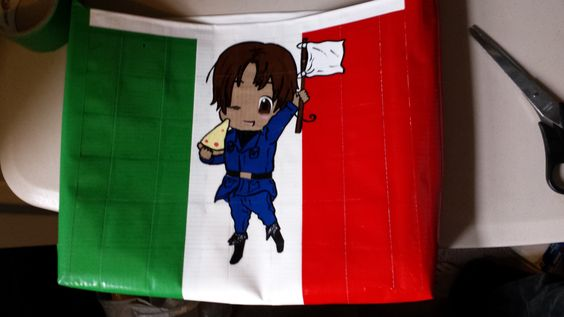 A duct tape bag of Italy, from Hetalia