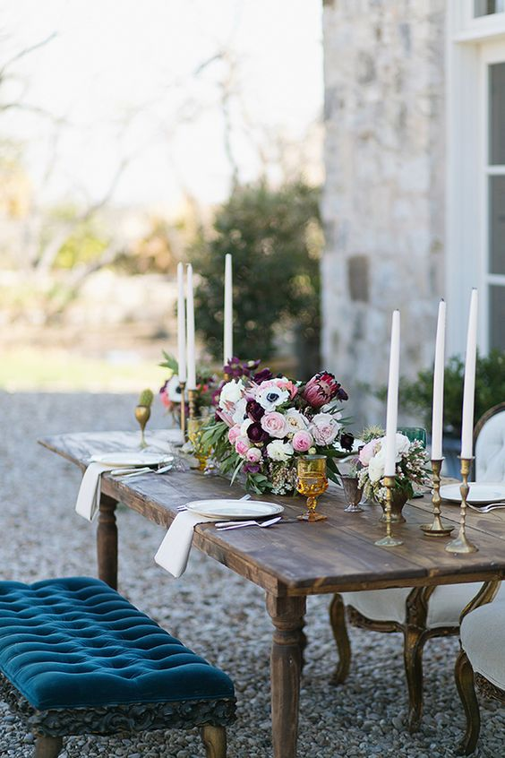 Vintage Kings Table with Jewel Tone Florals | Charla Storey Photography and Grit + Gold