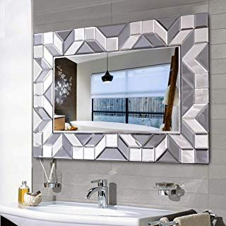 Waterjoy Large Framed Rectangular Bathroom Mirror Sliver Vanity