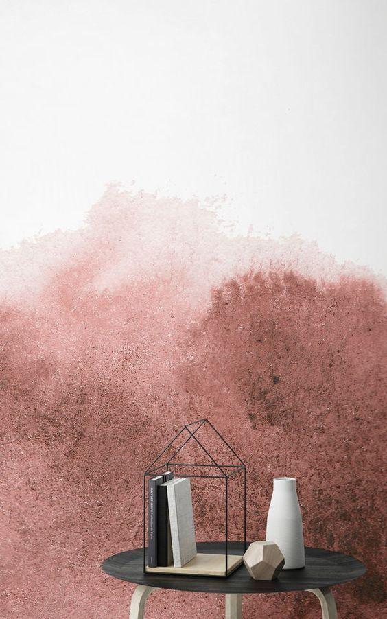 Papier Peint Aquarelle Degrade Rouge En Fond Blanc Painting