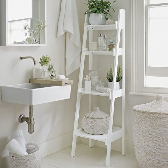 bathroom ladder shelf the white company the spring. Black Bedroom Furniture Sets. Home Design Ideas