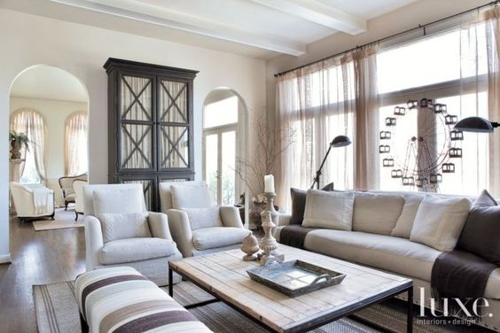 Transitional Neutral Family Room Luxe Traditional