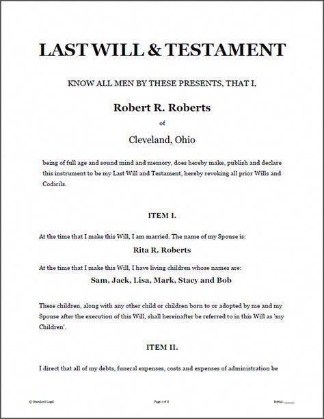 Last Will Testament Legal Forms Software Standard Legal Last Will And Testament Sample Form Last Will And Testament Will And Testament Divorce Help