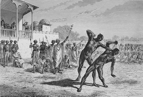 """The Nucki-ka-koosti at Baroda: the Fight with Claws, 1870s. Victorian print from """"The Graphic"""", an illustrated weekly newspaper dated 1875."""