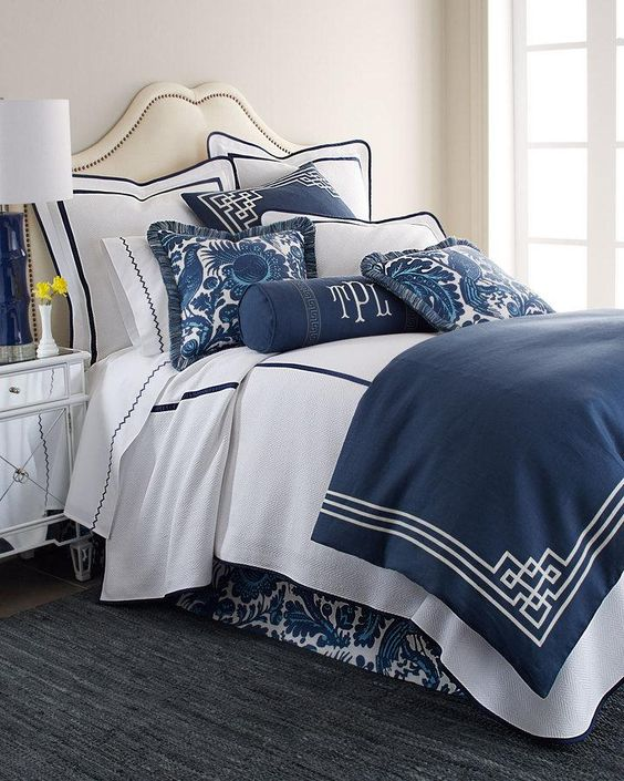 Scalamandre Maison by Eastern Accents Haveford Bleu Bedding & Bargello 200TC Sheets. Tailored white bedding, crisply defined with navy trim, is paired with indigo linens, then accented with bird-and-floral prints created using a centuries-old resistance dyeing technique. $ 100
