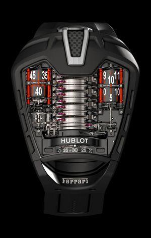Hublot MP-05 La Ferrari: Ferrari präsentiert die Uhr mit dem Handschrauber und bricht mehrere Rekorde. Energiespeicher mit einer Gangautonomie von 50 Tagen.