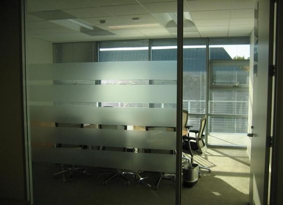 Frosted Film Adds Privacy To Offices Stripes Of Privacy