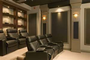 home theater with acoustic tiles