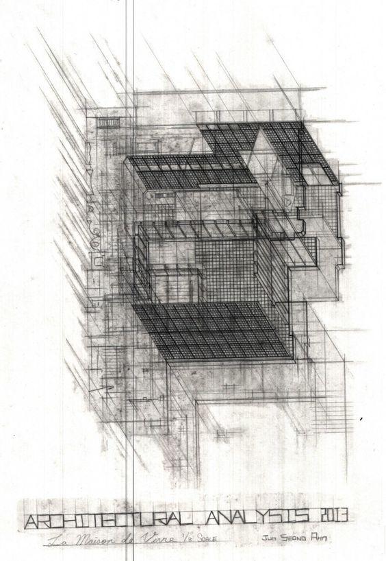 Jun ahn 39 s plan oblique drawing of maison de verre for Architecture oblique
