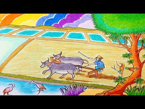 Cara Menggambar Petani Membajak Sawah Secara Tradisional Dan Pemandangan Cara Menggambar Pemandangan Gambar