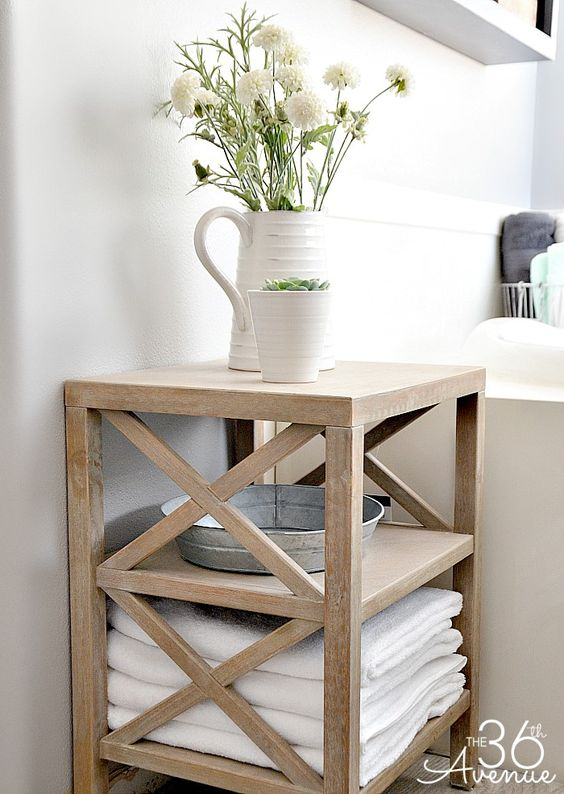 Rustic Bathroom Storage and Organization Ideas at the36thavenue.com #cleaning #bathroom: