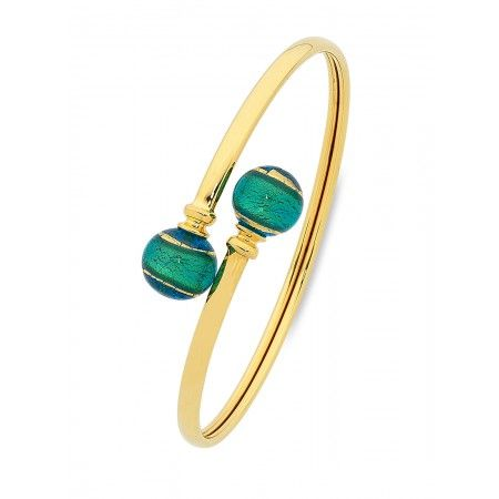 Green Murano Glass Ball  & Yellow Gold Bangles  #autumn #autumnfashion #fashion #Murano