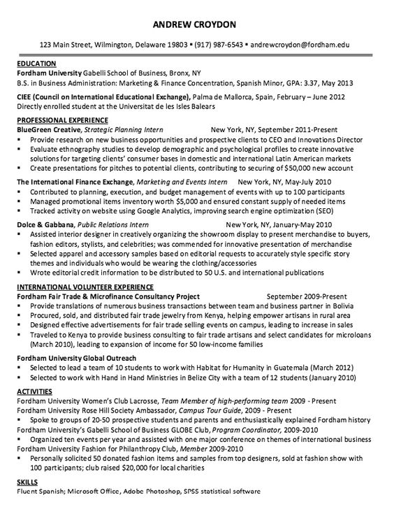 Sample Resume Strategic Planning Intern - http\/\/resumesdesign - master plumber resume