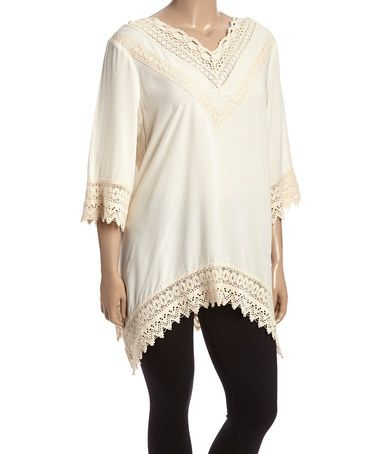 Another great find on #zulily! Ivory Lace-Trim Sidetail Tunic - Plus #zulilyfinds