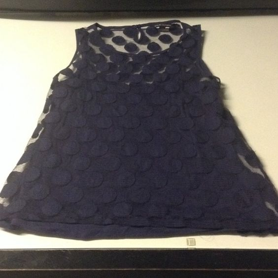 Banana republic polka dot mesh with navy tank Sleeveless navy mesh tank with polka dots Banana Republic Tops Blouses