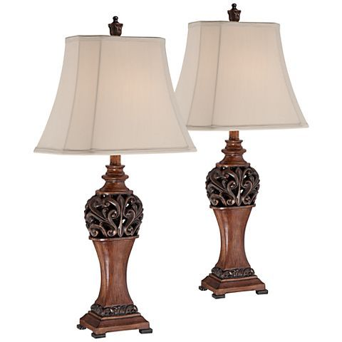 Exeter 30 High Wood Finish Table Lamps Set Of 2 3r187 Lamps Plus Bronze Table Lamp Traditional Table Lamps Small Bedside Table Lamps