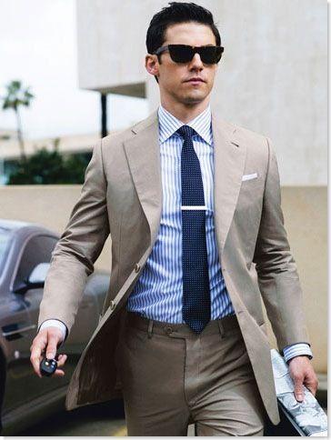 Khaki/Tan/Stone Summer Suit Shirt & Tie Combos | My Style