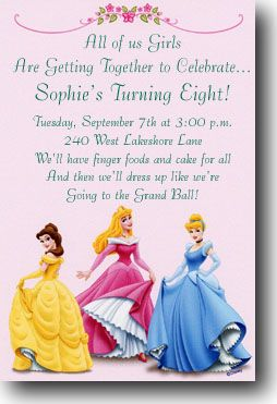 Invitation wording ideas - Disney and General Birthday themes ...