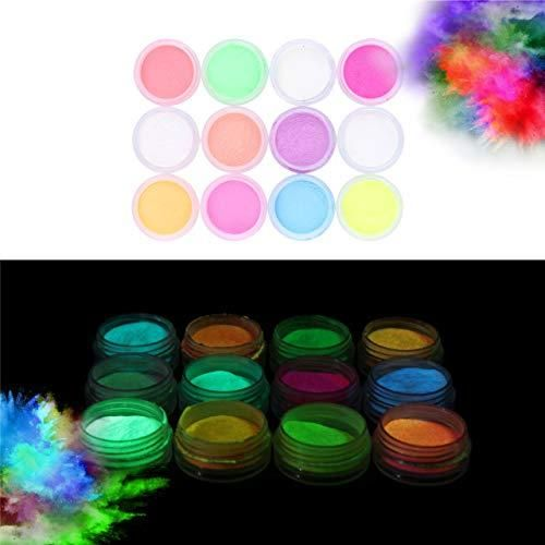 Glow In The Dark Powder Pack Of 24 Luminous Pigment Powder Fluorescent Uv Neon Color Changing Luminescent Phosphorescent Thermochromic Dye Dust Glo For Slime In 2021 Pigment Powder Glow Nails Luminous Powder