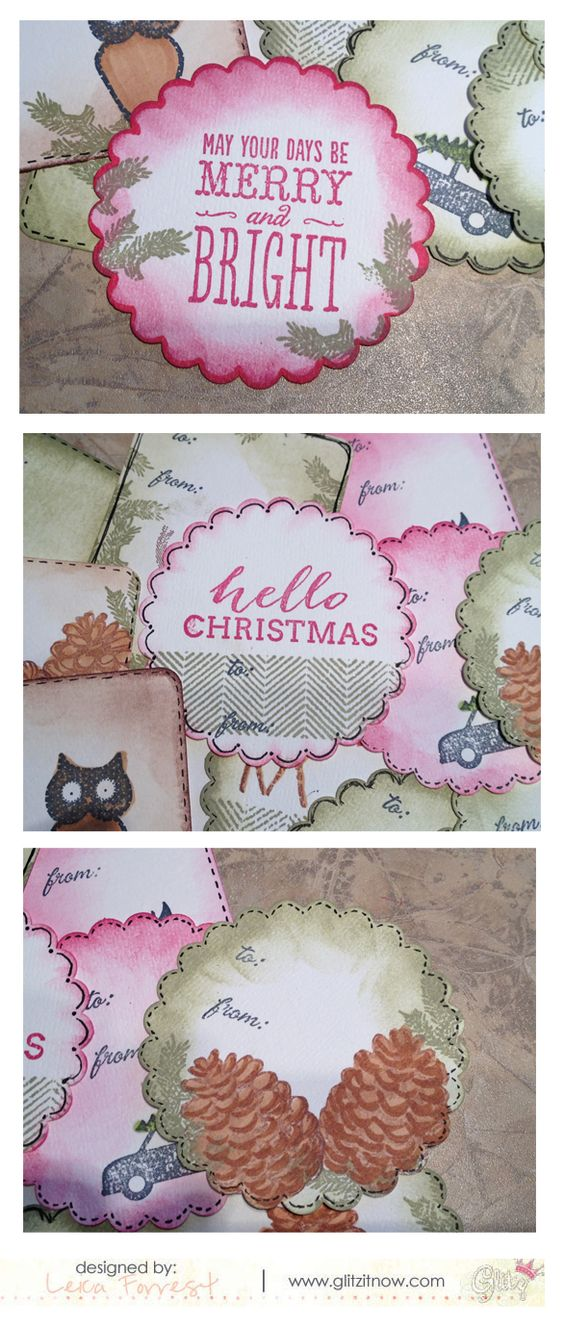 Leica's Christmas tags using Hello December and Finnley stamps from Glitz Design