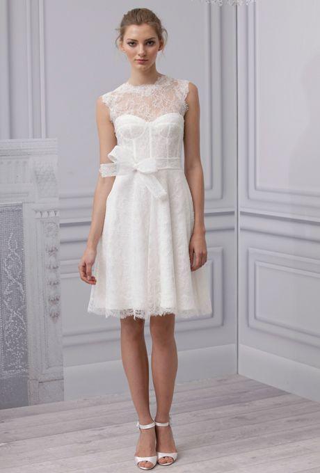 Brides.com: Spring 2013 Wedding Dress Trends. Trend: Lace Nouveau. Gown by Monique Lhuillier  See more Monique Lhuillier wedding dresses in our gallery.