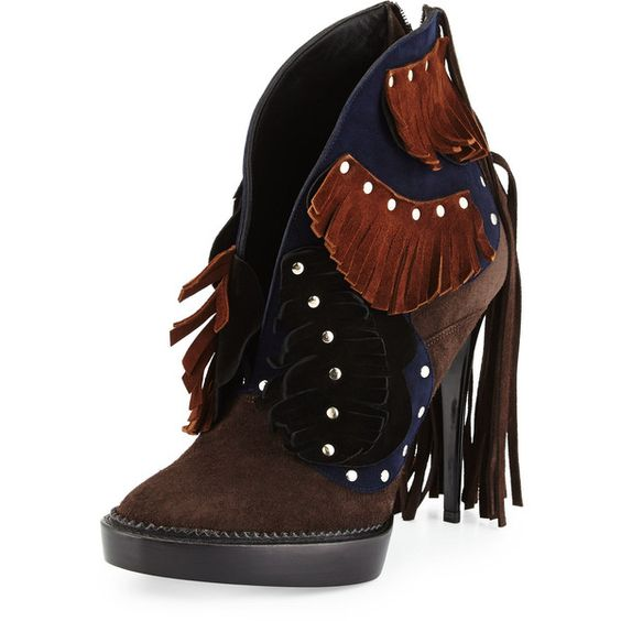 Burberry Lilybell Studded Fringe Bootie (¥192,180) ❤ liked on Polyvore featuring shoes, boots, ankle booties, fringe bootie, gray booties, studded booties, fringe booties and high heel booties