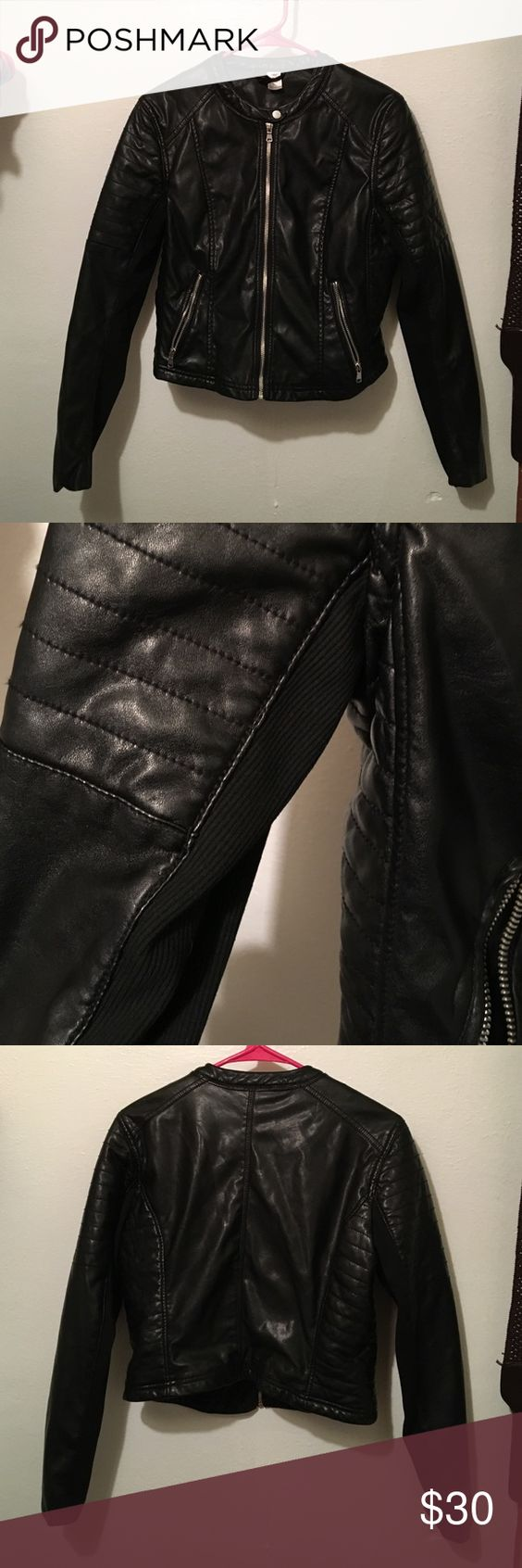 Black Leather Jacket Worn twice. The leather is in excellent condition! There's no stains or rips or anything. Still looks and feels new! :) H&M Jackets & Coats