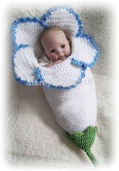 nieuwe top te koop lelie bloem design fotografie rekwisieten pasgeboren baby slaapzak baby gebreide handgemaakte kostuum outfit h200