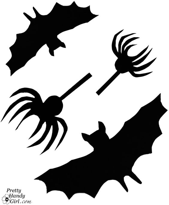 Free Bat and Spider Creepy Wall Silhouette printables