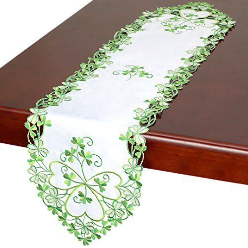 Simhomsen Irish Clover Table Runners Embroidered Shamrock Table Linen For St Patrick S Day And Spring 13 By 120 Inch Irish Clover Table Runners Shamrock