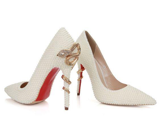 elegante parel vrouwen pompen schoenen sexy puntige yoe bruiloft kleding schoenen echt lederen schoenen rode onderkant vrouwen pompen gratis verzending in  van harte welkom om de winkel van de wvoorteken van vrouwen pompen op AliExpress.com | Alibaba Groep