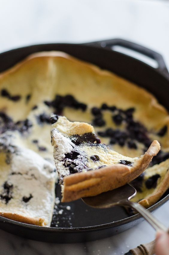 Blueberry Dutch Baby Recipe - Buttered Side Up | Breakfast idea: