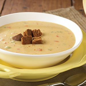 Canadian cheese soup w/pumpernickel croutons