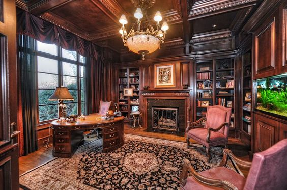 Traditional Home Office with Classic Coffers Suspended Wood Ceiling System…