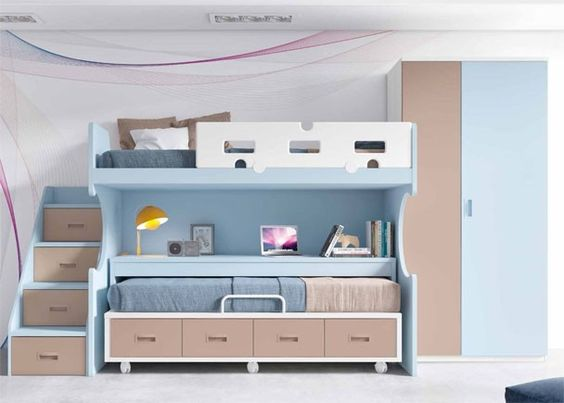 Habitaci n infantil con literas escritorio y armario - Literas juveniles con escritorio ...