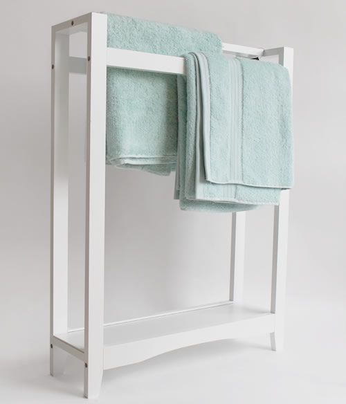 white freestanding towel rail with shelf bathroom public. Black Bedroom Furniture Sets. Home Design Ideas