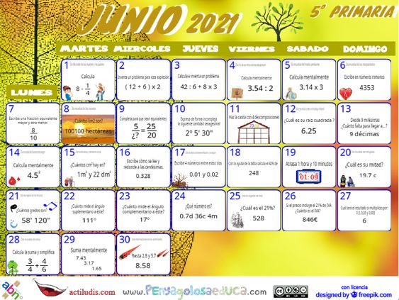 Calendario Quinto ABN – Junio 2021